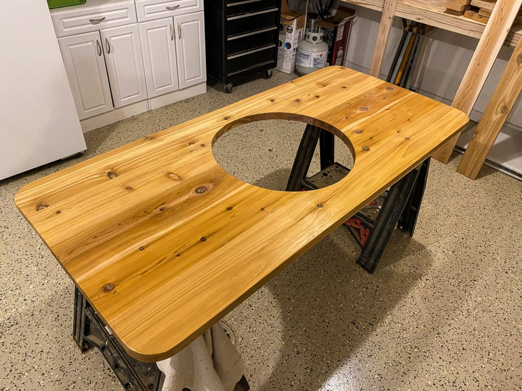 countertop glued up out of 2x8 cedar