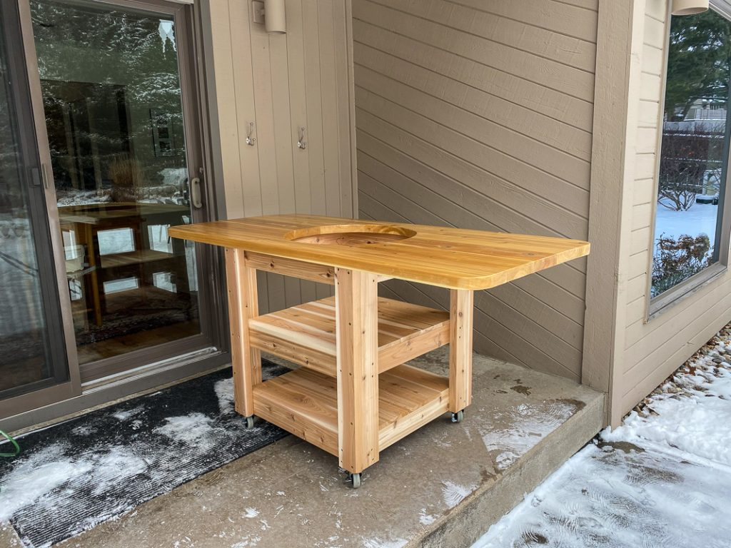egg table framed with countertop