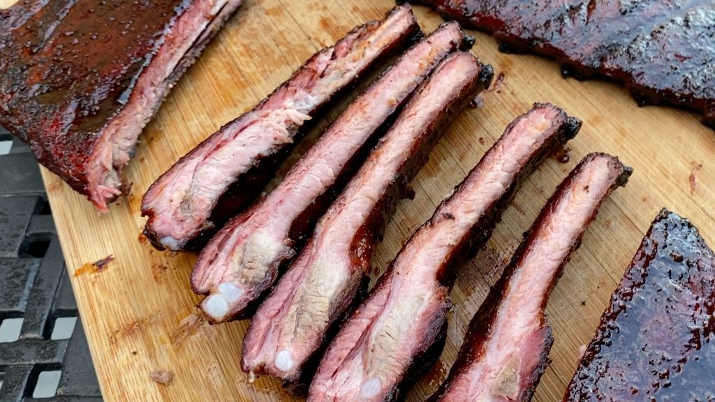 Sliced pork ribs after smoking