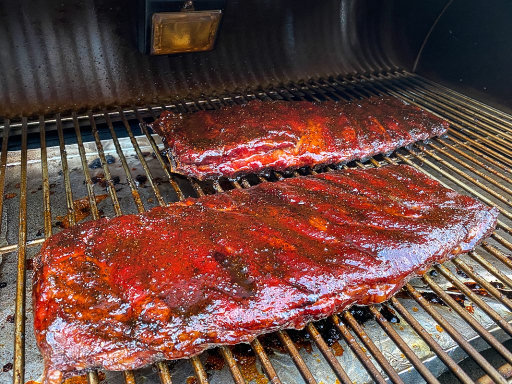 Glaze your ribs and leave on the pellet smoker another 20-30 minutes