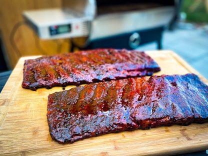 glazed smoked ribs on a pellet smoker
