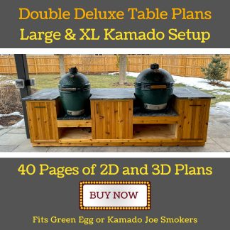 diy outdoor kitchen for one large and one XL green egg or kamado joe