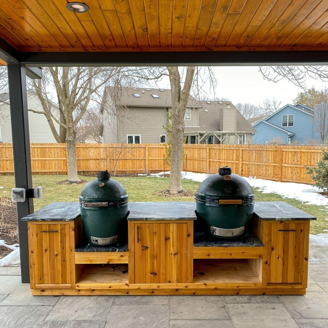 diy green egg outdoor kitchen plans