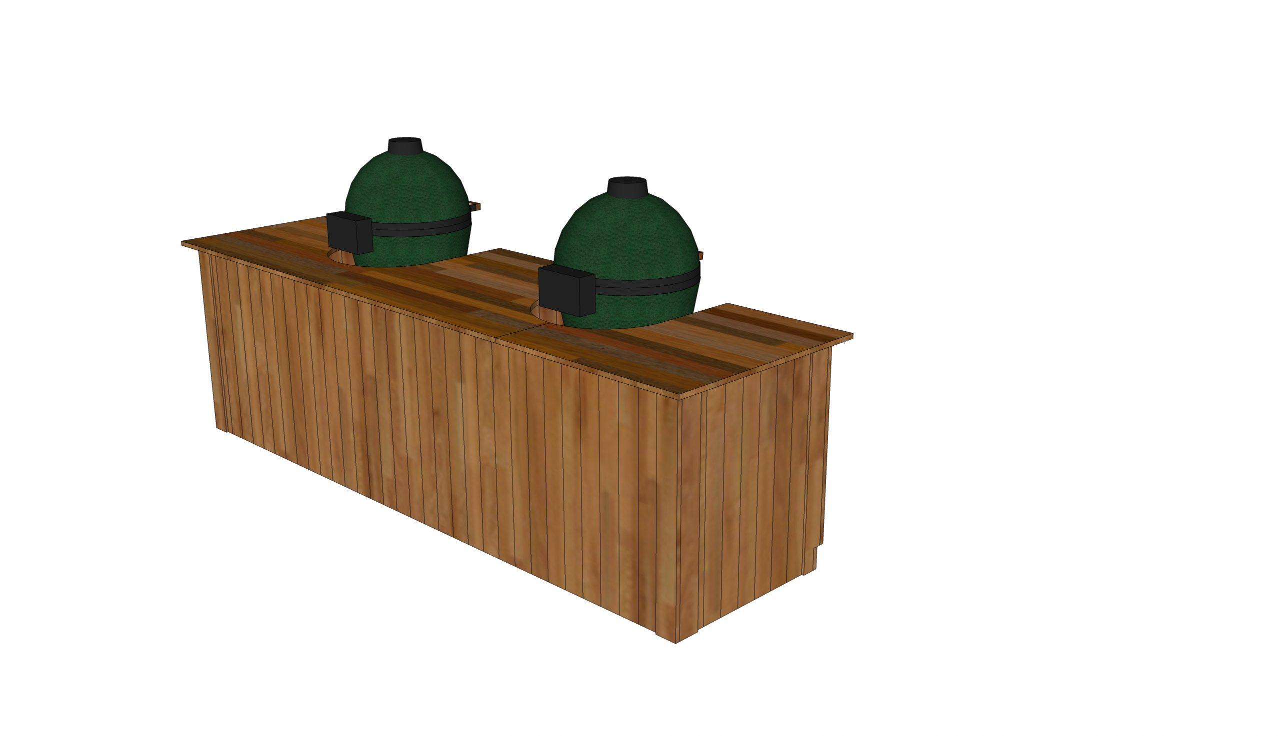 double green egg and kamado joe smoker table plans