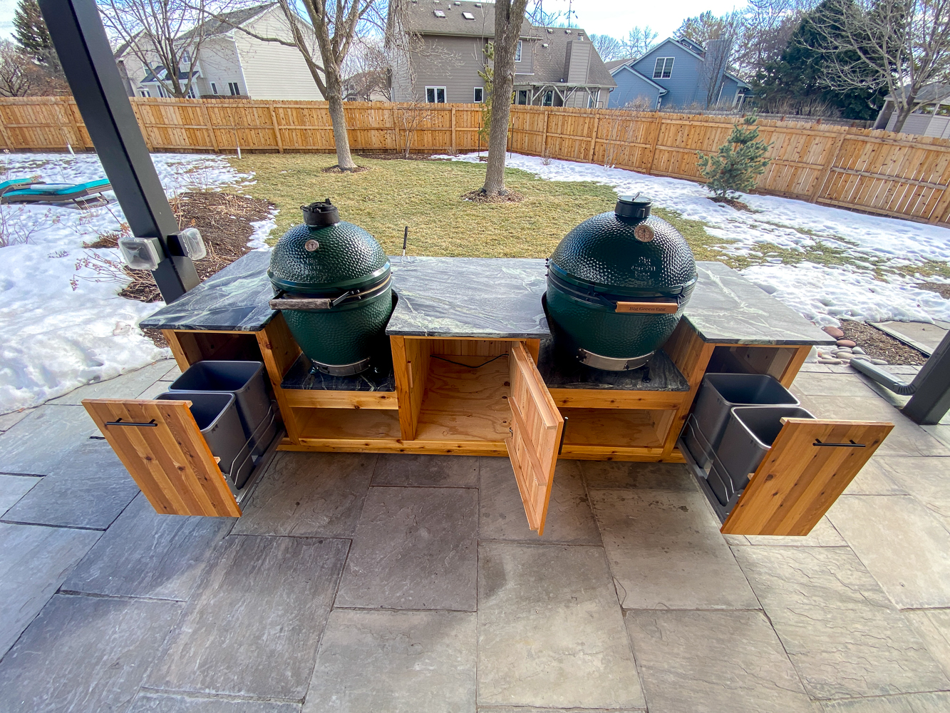 double green egg table front view
