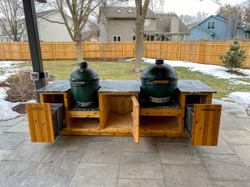 diy outdoor kitchen for green egg or kamado joe